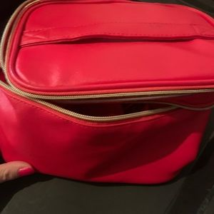 Lancôme red leather makeup bag with dividers